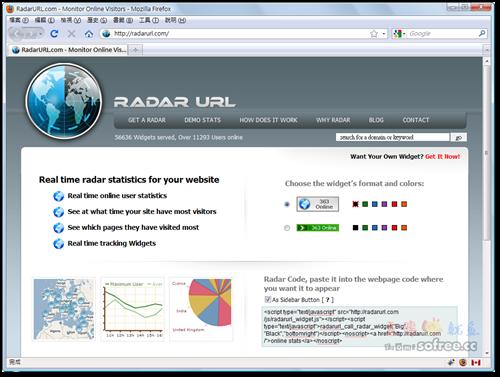 RadarURL 免費線上即時訪客統計貼紙