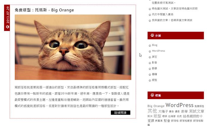 「大橘子」標準型部落格專用兩欄式WP佈景主題