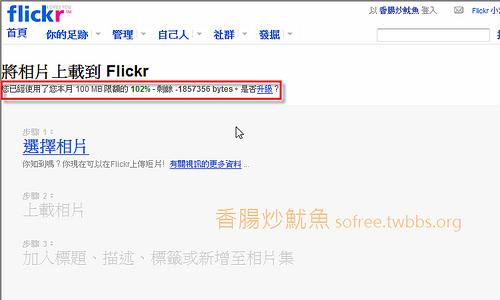 啥?flickr「沒有」每月100MB流量限制?(五月三日)